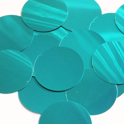 "Round  Flat Sequin 2"" Teal Turquoise Metallic"