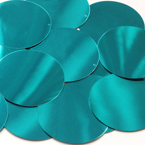 Round  Flat Sequin 50mm Teal Turquoise Metallic