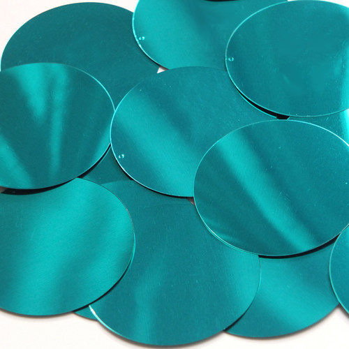 Round  Flat Sequin 60mm Teal Turquoise Metallic