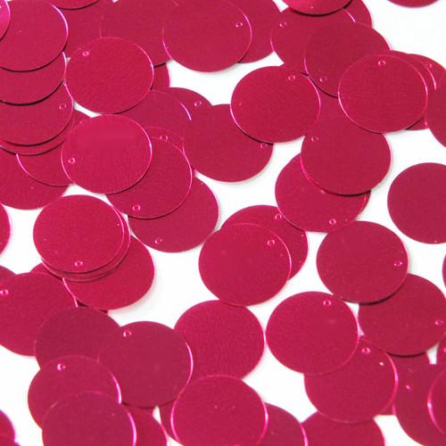 Round  Flat Sequin 18mm Top Hole Fuschia Pink Metallic