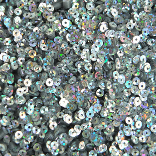 3mm Flat Sequins Silver Hologram Glitter Sparkle Metallic