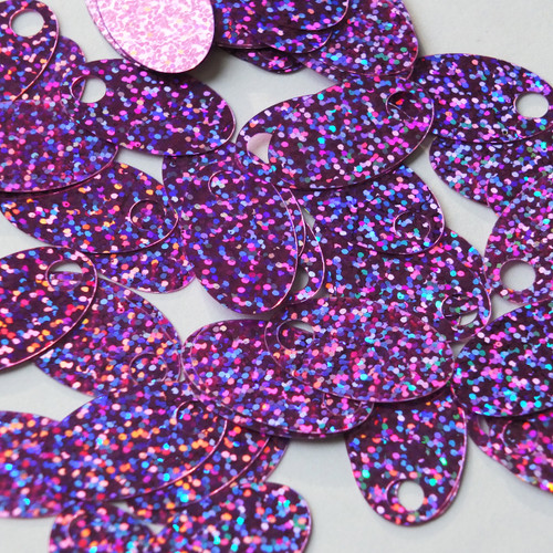 "Large Hole Oval Sequin 1.25"" Orchid Light Purple Hologram Glitter Sparkle"