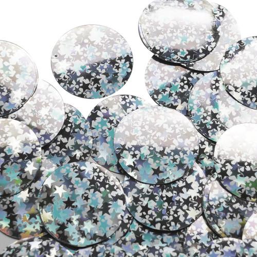 "1.5"" Sequins Silver Star Dust Reflective Metallic"