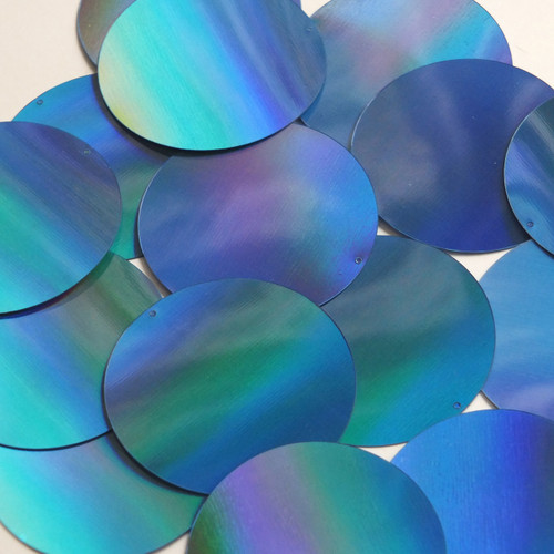 Round  Flat Sequin 50mm Light Blue Lazersheen Rainbow Reflective Metallic