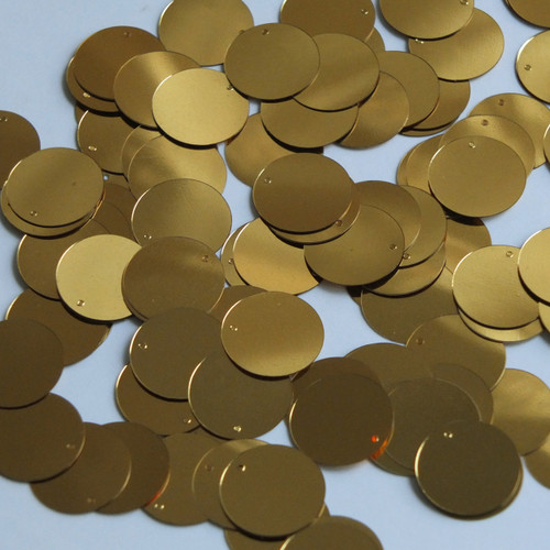 Round  Flat Sequin 12mm Top Hole Very Deep Gold Metallic