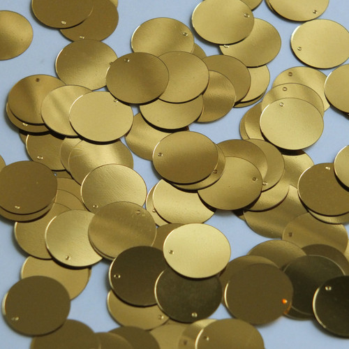 Round  Flat Sequin 15mm Top Hole Very Deep Gold Metallic