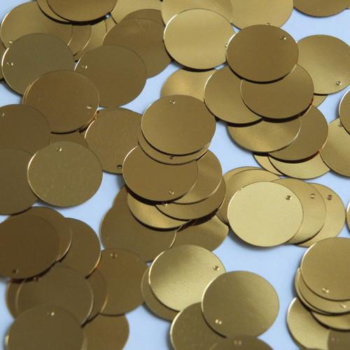Round  Flat Sequin 18mm Top Hole Very Deep Gold Metallic