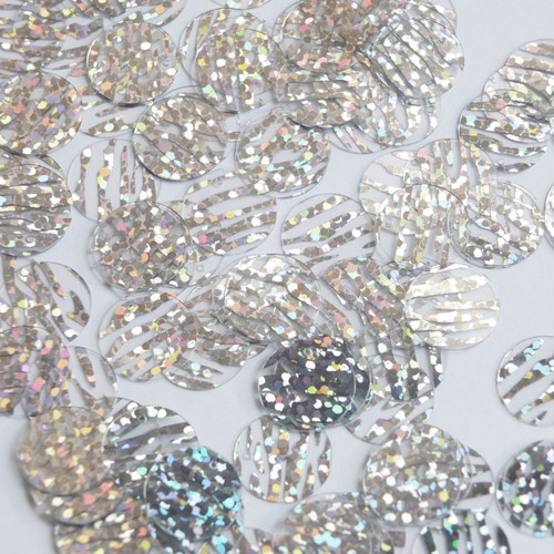 Round  Flat Sequin 12mm Top Hole Silver Tiger Stripe Transparent Hologram Glitter Sparkle