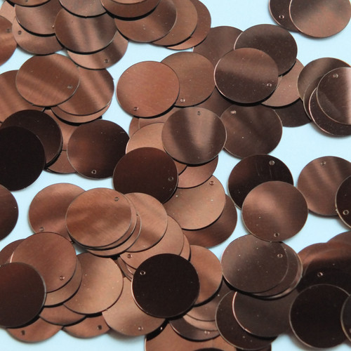 Round  Flat Sequin 12mm Top Hole Chocolate Brown Metallic