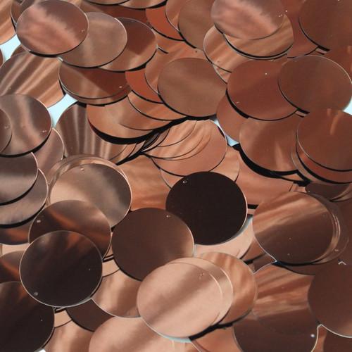 Round  Flat Sequin 18mm Top Hole Chocolate Brown Metallic