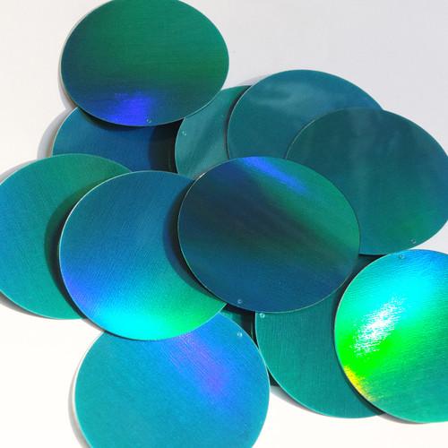 Round  Flat Sequin 60mm Teal Lazersheen Rainbow Reflective Metallic