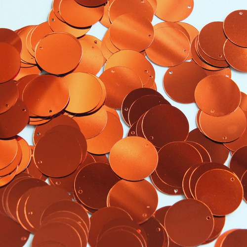 Round  Flat Sequin 12mm Top Hole Deep Rich Orange Shiny Metallic