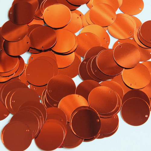 Round  Flat Sequin 15mm Top Hole Deep Rich Orange Shiny Metallic