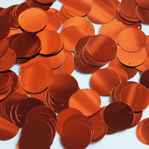 Round  Flat Sequin 18mm Top Hole Deep Rich Orange Shiny Metallic
