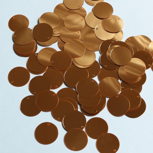 Round  Flat Sequin 12mm Top Hole Orange Fluorescent Shiny Metallic