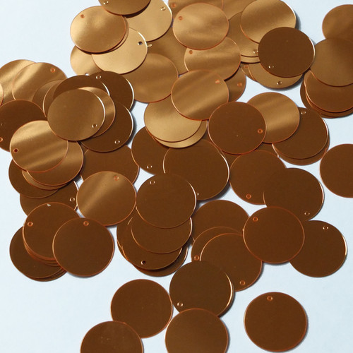 Round  Flat Sequin 15mm Top Hole Orange Fluorescent Shiny Metallic