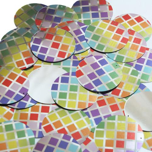 "Round  Flat Sequin 1.5"" Rainbow Squares on Silver Metallic"