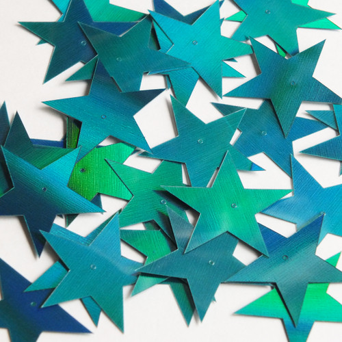 "Star 5 Point Flat Sequin 1.5"" Center Hole Teal Lazersheen Rainbow Reflective Metallic"