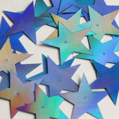 "Star 5 Point Flat Sequin 1.5"" Center Hole Light Blue Lazersheen Rainbow Reflective Metallic"