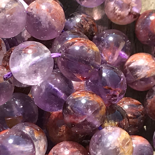 "6mm Natural Amethyst Lodolite Garden Phantom Quartz Round Beads 15"" Strand"