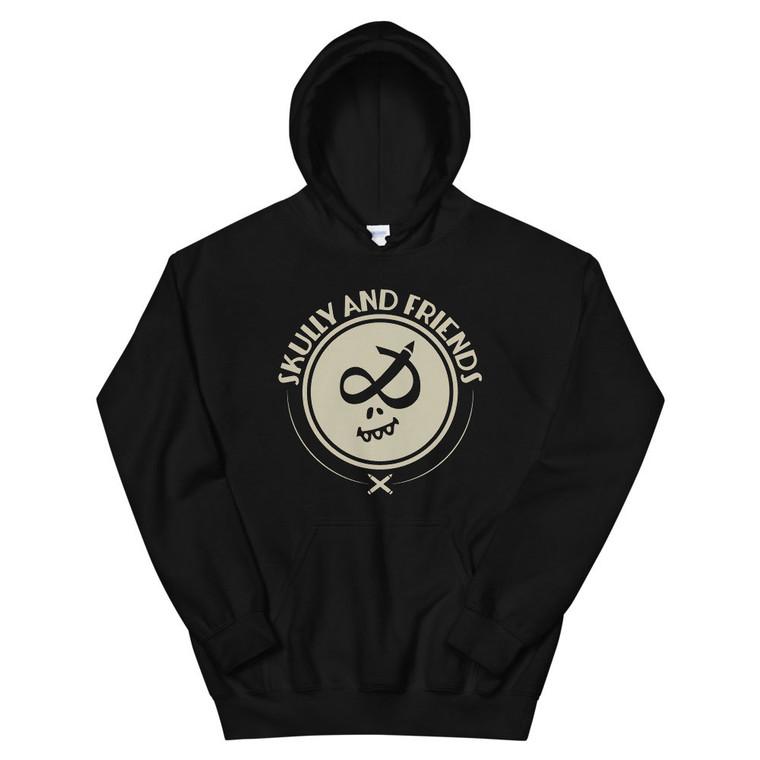 SKULLY STAMP (beige), black hoodie | Skully & friends