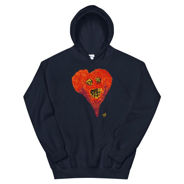 SUPER HEART, blue hoodie | Skully & friends