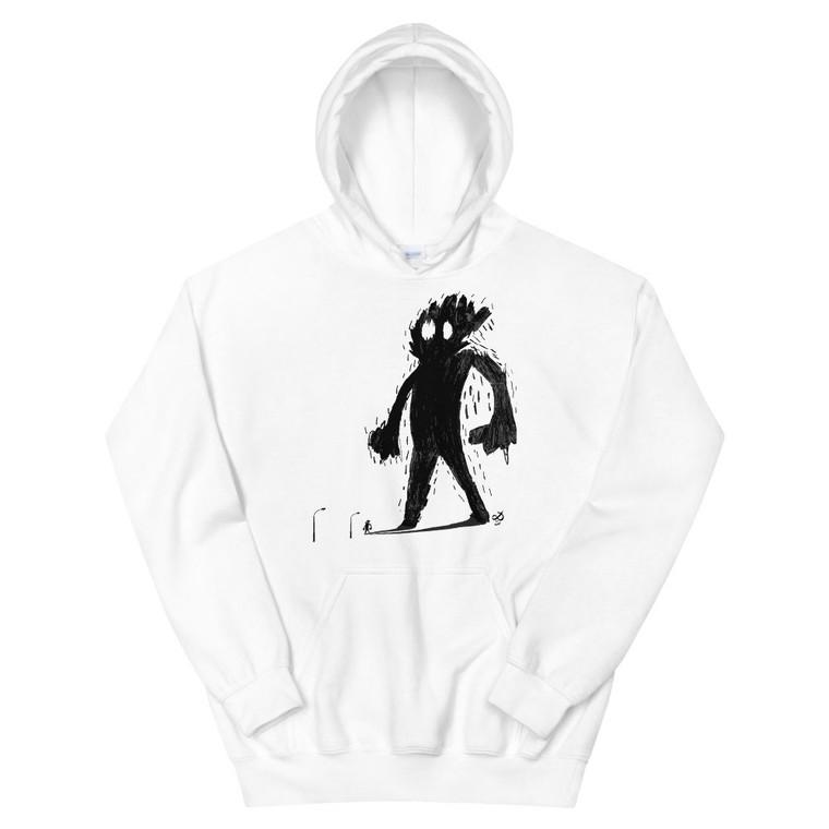 HAIRY SHADOW, white hoodie | Skully & friends