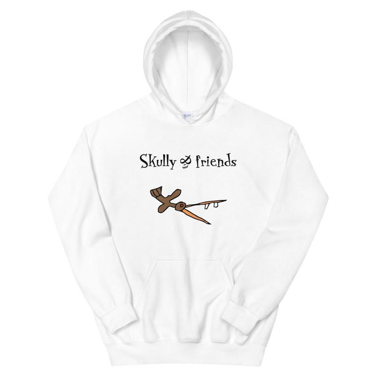 CRAZY BIRD, white hoodie   Skully & friends