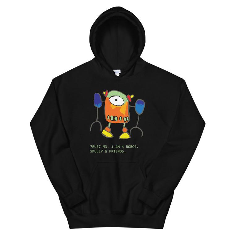 ROBO7, black hoodie | Skully & friends