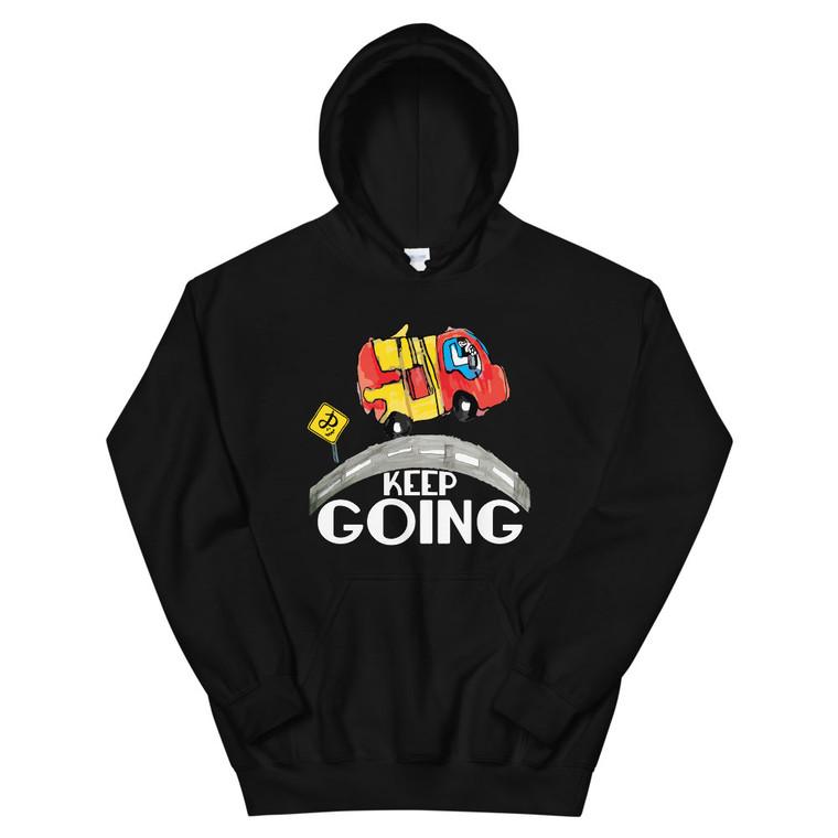 KEEP GOING, black hoodie | Skully & friends