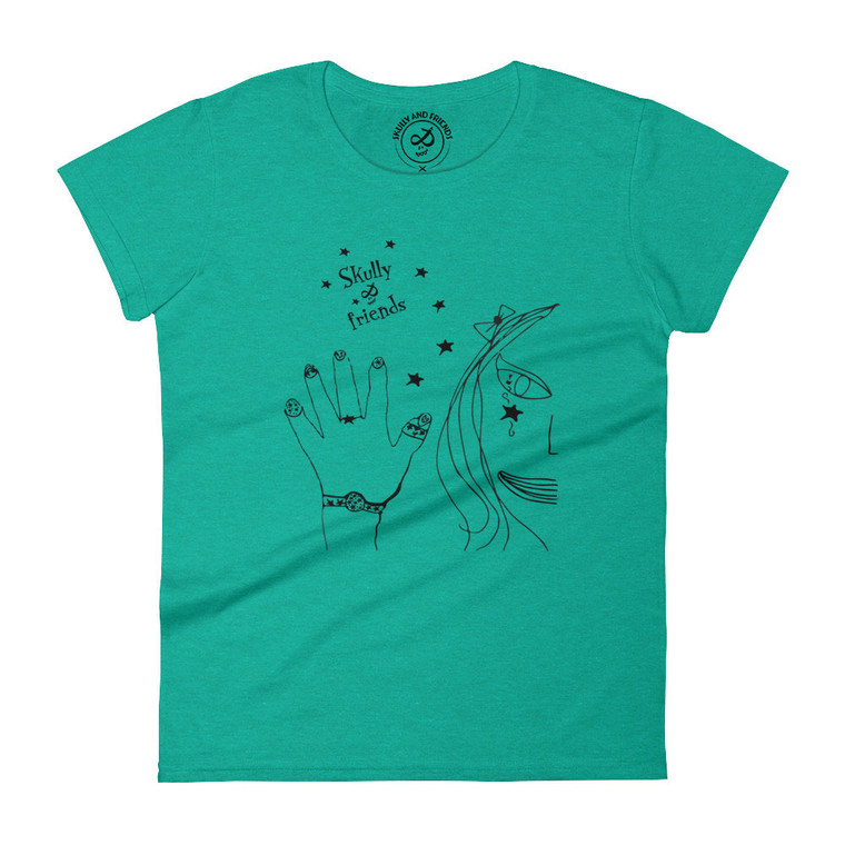 THE ARTY PRINCESS, Heather Green T-shirt   Skully & friends