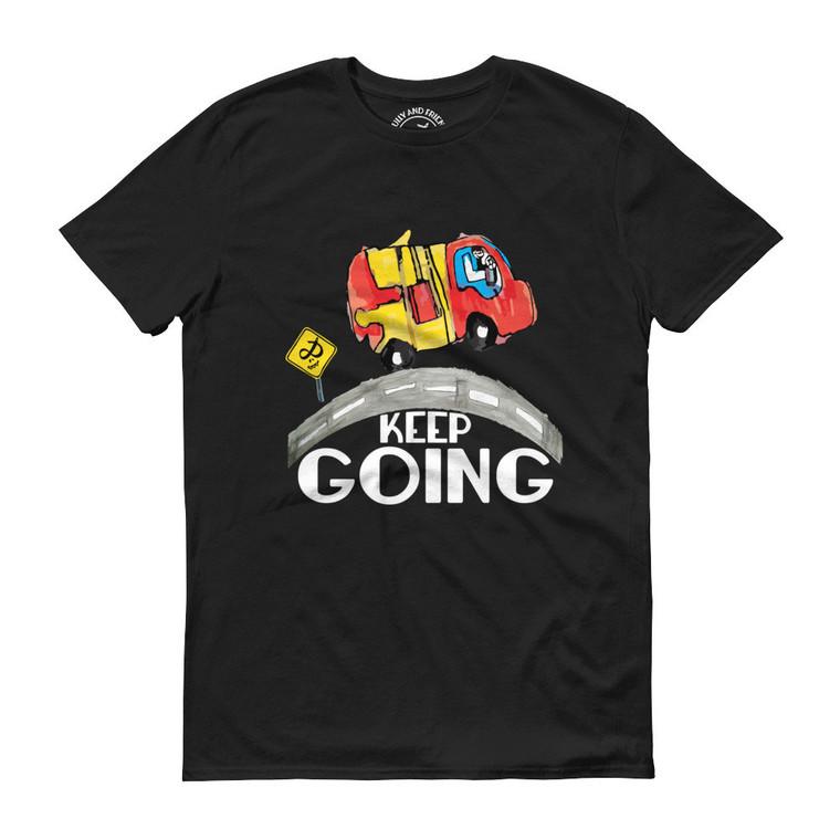 KEEP GOING, Black T-shirt | Skully & friends