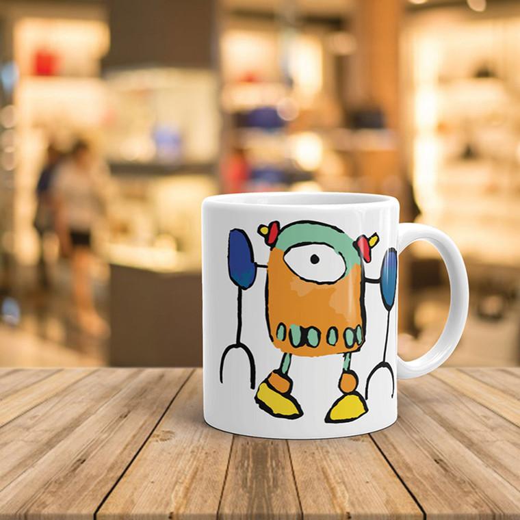 ROBO7, White Cheramic Mug Real Life | Skully & friends