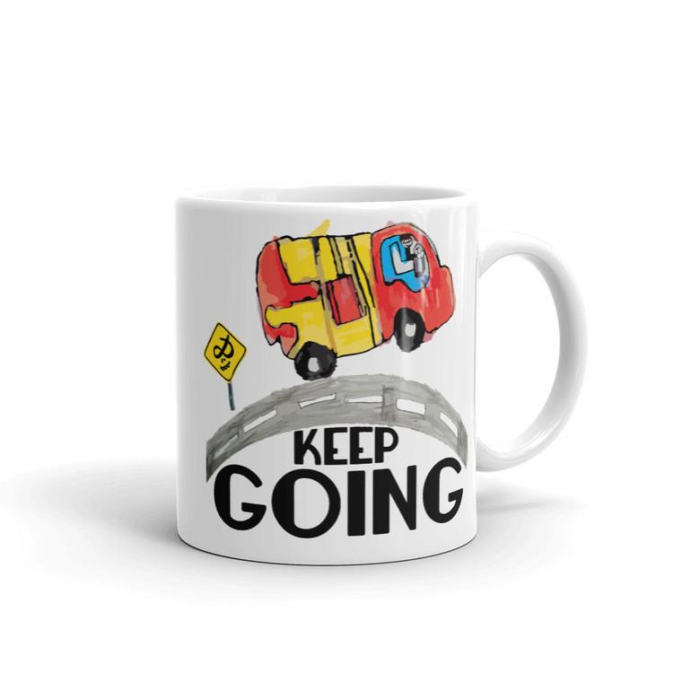 KEEP GOING, White Mug Right   Skully & friends