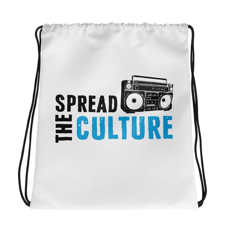STC LOGO, White Drawstring Bag | Skully & friends