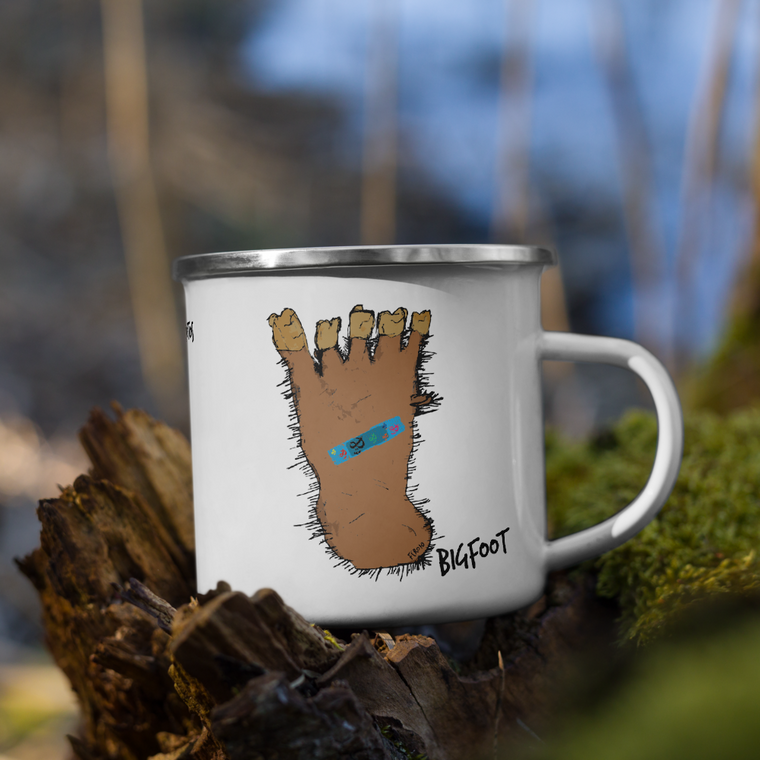 BIGFOOT, White Enamel Mug Real Life | Skully & friends