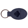 Blue Leatherette Oval Keychain with Custom Laser Engraving