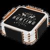 Black Coaster Set (Silver Border)  with Custom Laser Engraving