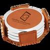 Rawhide Round Coaster Set (Silver Border)  with Custom Laser Engraving