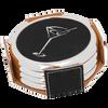 Black Round Coaster Set (Silver Border)  with Custom Laser Engraving