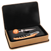 Engraved Light Brown Leatherette 2-Piece Wine Tool Set