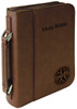 Dark Brown Leatherette Large Book Cover w/ Zipper with Custom Laser Engraving