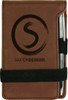 Brown Leatherette Small Notepad with Custom Laser Engraving