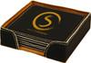 Black/Gold Square Leatherette Coaster Set with Custom Laser Engraving