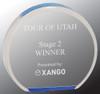 "Custom Engraved Blue Acrylic Circle Award (4.5"")"