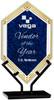 "Custom Engraved Blue Acrylic Double Diamond Award on Iron Stand (10.5"")"