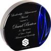 "Custom Engraved Blue Vapor Acrylic Round Award (6"")"