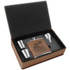 6 oz. Laserable Leatherette Flask Set Dark Brown