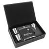 6 oz. Laserable Leatherette Flask Set Black / Silver