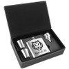 6 oz. Laserable Leatherette Flask Set Stainless Steel